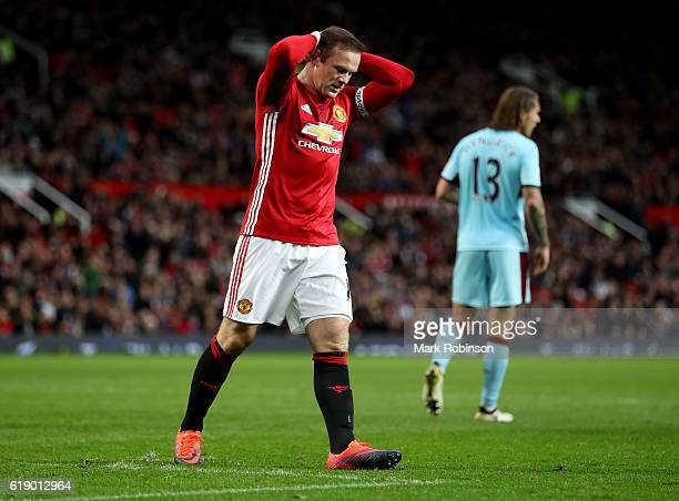 Wayne Rooney of Manchester United reacts during the Premier League match between Manchester United and Burnley at Old Trafford on October 29 2016 in...