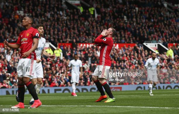 Wayne Rooney of Manchester United reacts during the Premier League match between Manchester United and Swansea City at Old Trafford on April 30 2017...