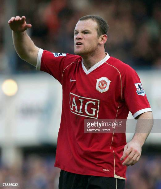 Wayne Rooney of Manchester United reacts to not being awarded a penalty during the Barclays Premiership match between Portsmouth and Manchester...