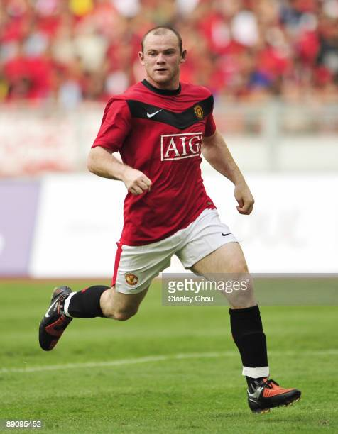 Wayne Rooney of Manchester United runs for the ball during the pre-season friendly match between Manchester United and Malaysia XI at the Bukit Jalil...
