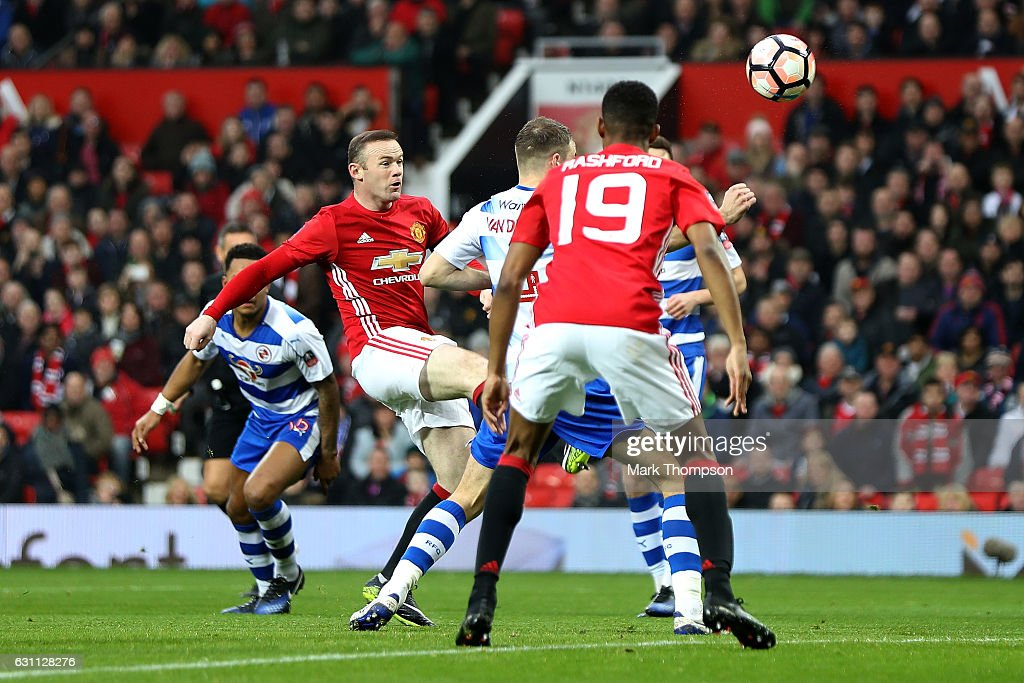Wayne Rooney of Manchester United scores his sides first goal during the Emirates FA Cup third round match between Manchester United and Reading at Old Trafford on January 7, 2017 in Manchester, England.