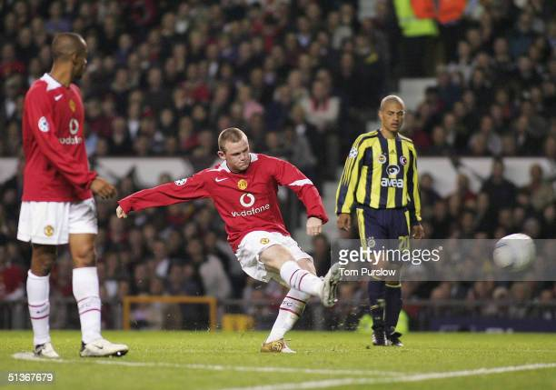 Wayne Rooney of Manchester United scores the fifth goal and completes his debut hattrick during the UEFA Champions League match between Manchester...