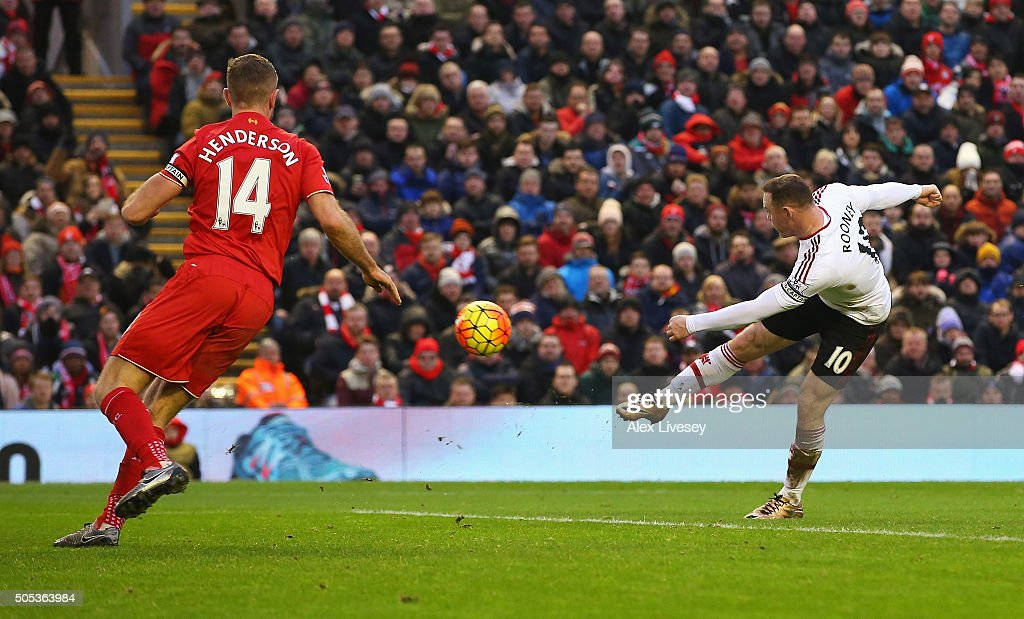 Wayne Rooney of Manchester United scores the opening goal during the Barclays Premier League match between Liverpool and Manchester United at Anfield on January 17, 2016 in Liverpool, England.