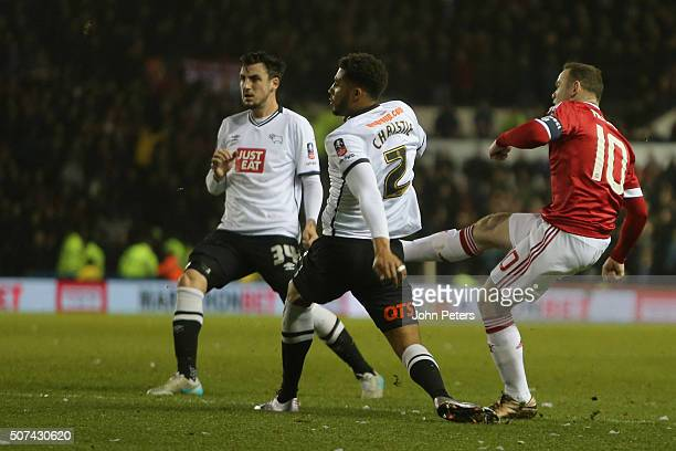 Wayne Rooney of Manchester United scores their first goal during the Emirates FA Cup Fourth Round match between Derby County and Manchester United at...