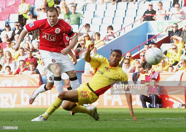 Wayne Rooney of Manchester United scores their first goal during the FA Cup sponsored by E.ON Semi-final match between Watford and Manchester United...