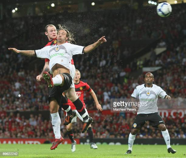 Wayne Rooney of Manchester United scores their first goal during the preseason friendly match between Manchester United and Valencia at Old Trafford...