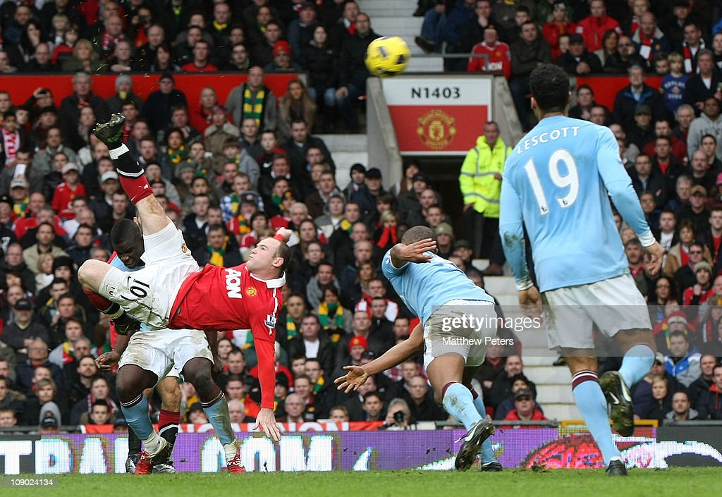 Wayne Rooney of Manchester United scores their second goal during the Barclays Premier League match between Manchester United and Manchester City at Old Trafford on February 12, 2011 in Manchester, England.