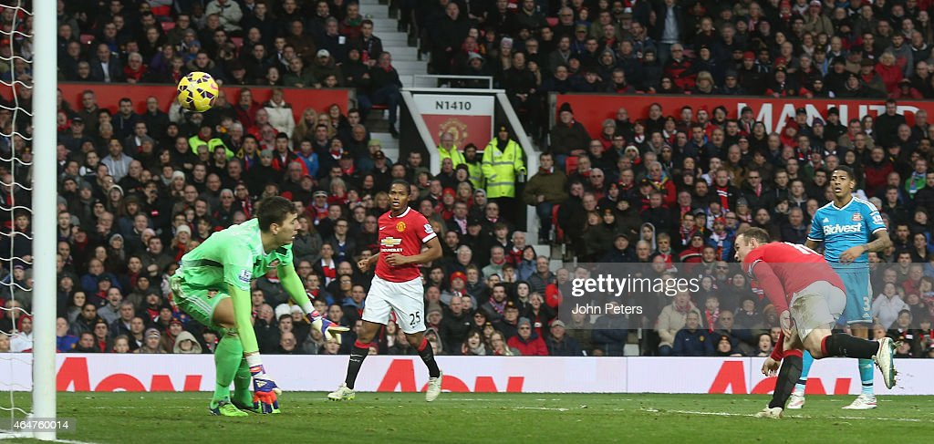 Wayne Rooney of Manchester United scores their second goal during the Barclays Premier League match between Manchester United and Sunderland at Old Trafford on February 28, 2015 in Manchester, England.
