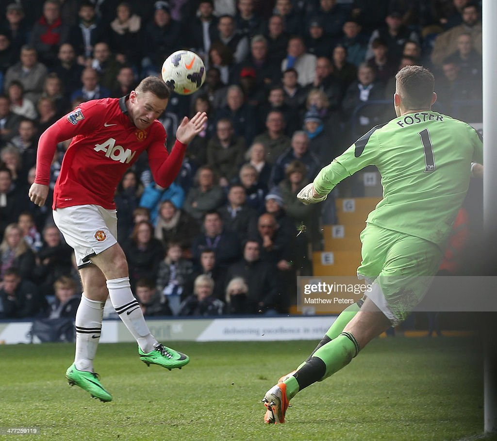 Wayne Rooney of Manchester United scores their second goal during the Barclays Premier League match between West Bromwich Albion and Manchester United at The Hawthorns on March 8, 2014 in West Bromwich, England.