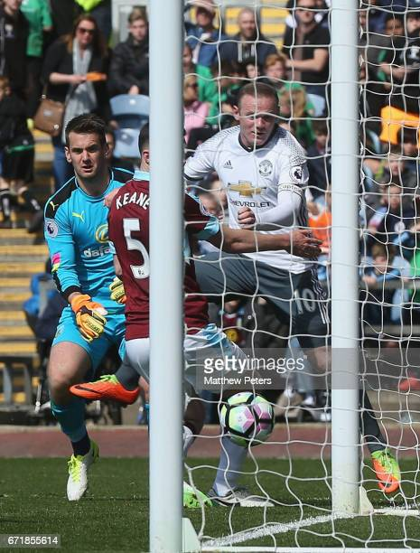 Wayne Rooney of Manchester United scores their second goal during the Premier League match between Burnley and Manchester United at Turf Moor on...