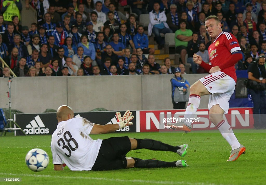 Wayne Rooney of Manchester United scores their third goal during the UEFA Champions League play-off second leg match between Club Brugge and Manchester United at Jan Breydel Stadium on August 26, 2015 in Brugge, Belgium.