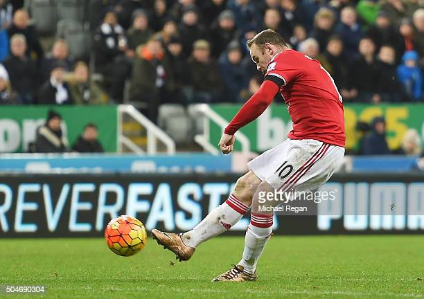 Wayne Rooney of Manchester United scores their third goal during the Barclays Premier League match between Newcastle United and Manchester United at...