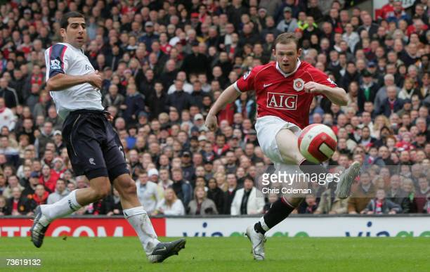 Wayne Rooney of Manchester United scores United's fourth goal during the Barclays Premiership match between Manchester United and Bolton Wanderers at...