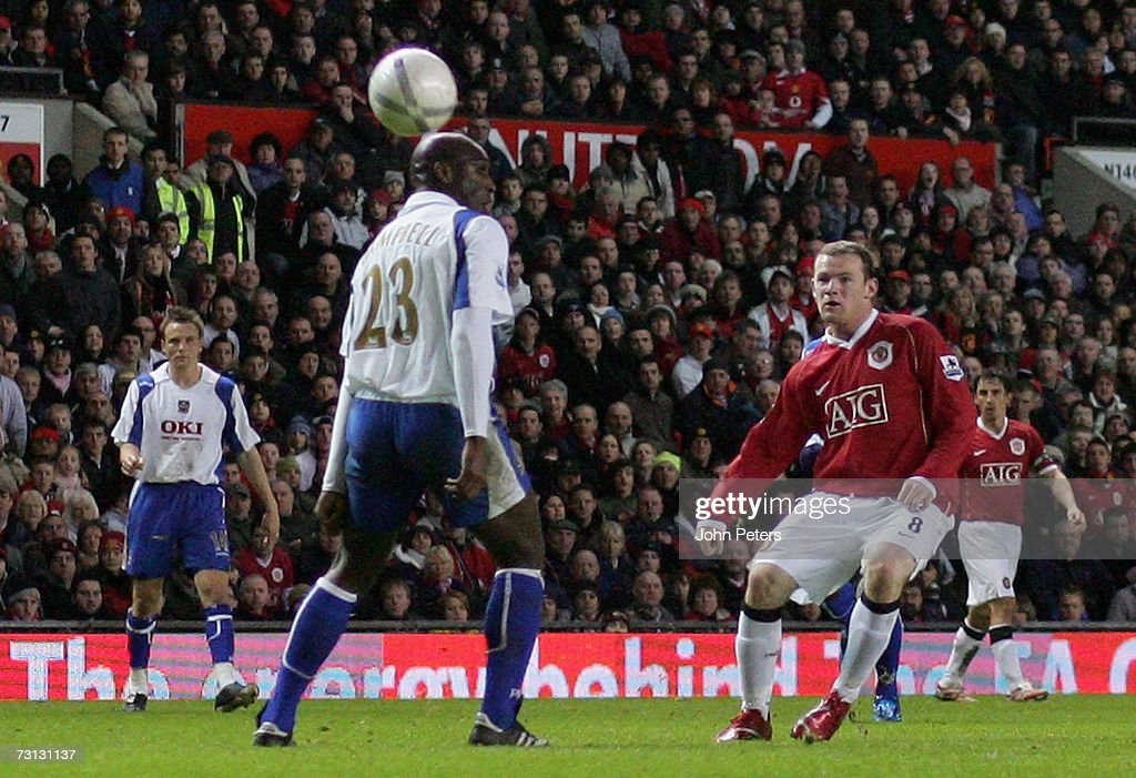 Wayne Rooney of Manchester United scores United's second goal during the FA Cup sponsored by E.ON Third Round match between Manchester United and Portsmouth at Old Trafford on January 27 2007 in Manchester, England.