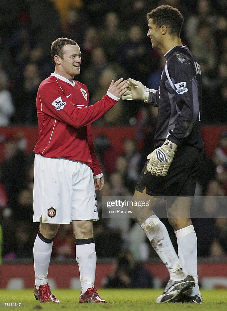 Wayne Rooney of Manchester United shakes hands with David James of Portsmouth at the final whistle of the FA Cup sponsored by E.ON Third Round match between Manchester United and Portsmouth at Old Trafford on January 27 2007 in Manchester, England.