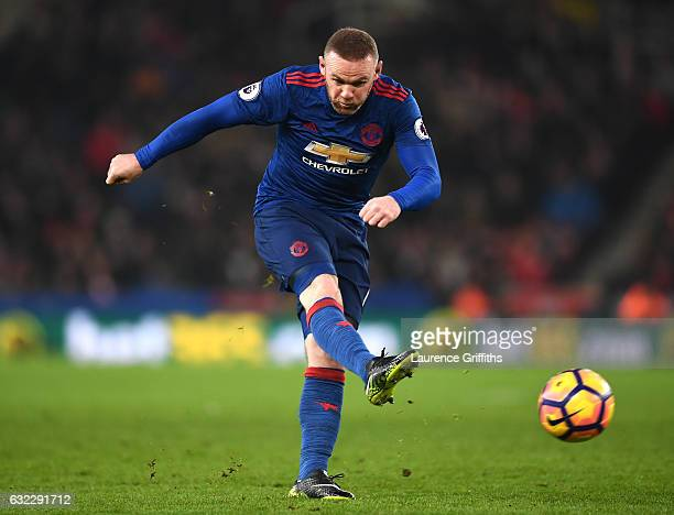 Wayne Rooney of Manchester United shoots during the Premier League match between Stoke City and Manchester United at Bet365 Stadium on January 21...