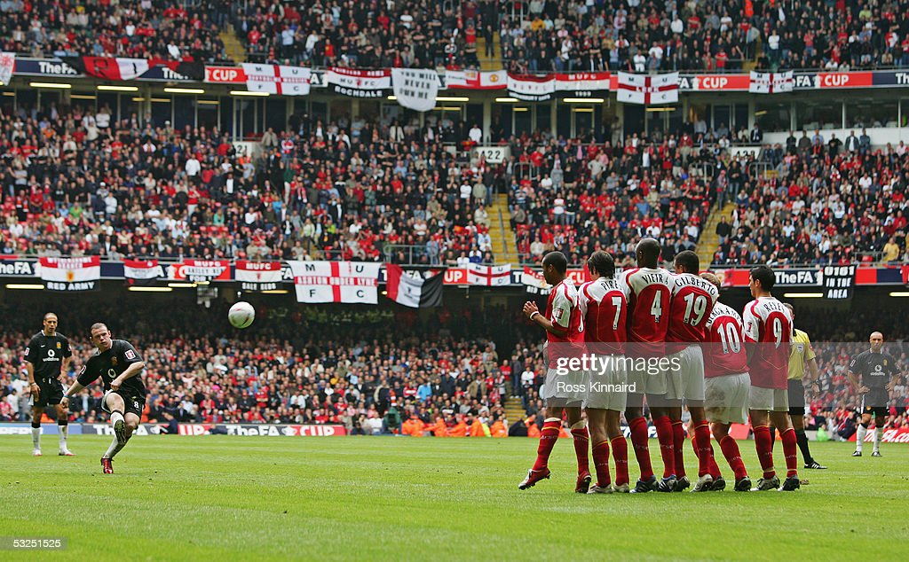 Wayne Rooney of Manchester United shoots from a free-kick during the FA Cup Final between Arsenal and Manchester United at The Millennium Stadium on May 21, 2005 in Cardiff, Wales.