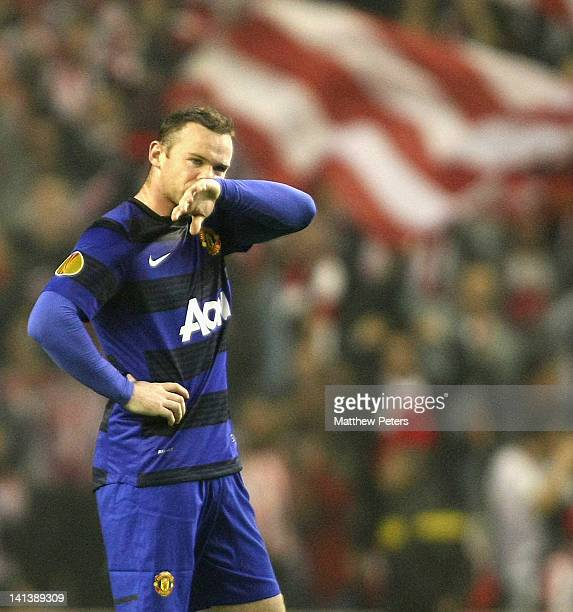 Wayne Rooney of Manchester United shows his disappointment during the UEFA Europa League Round of 16 second leg match between Athletic Club of Bilbao...