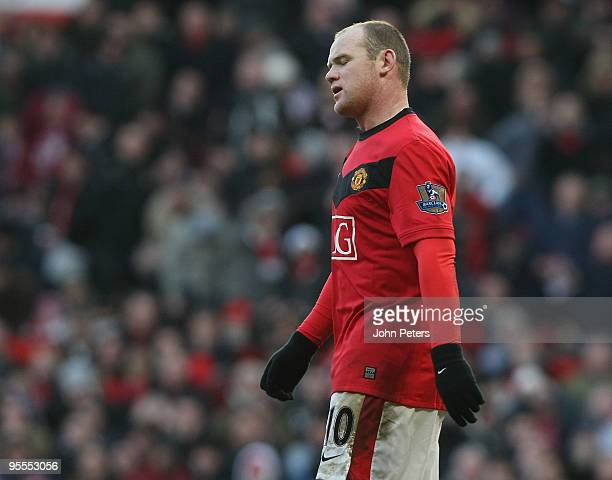 Wayne Rooney of Manchester United shows his disappointment during the FA Cup Sponsored by EOn Third Round match between Manchester United and Leeds...