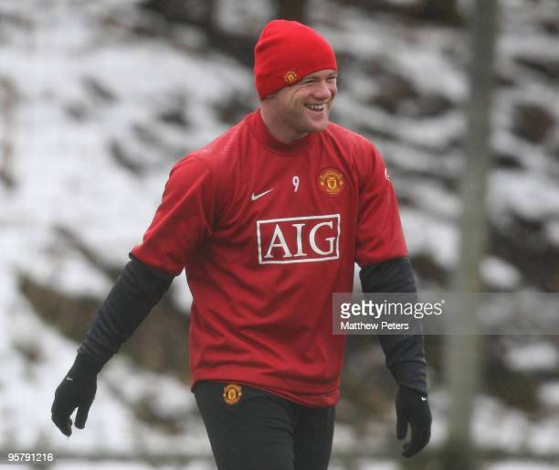 Wayne Rooney of Manchester United smiles during a First Team Training Session at Carrington Training Ground on January 15 2010, in Manchester,...