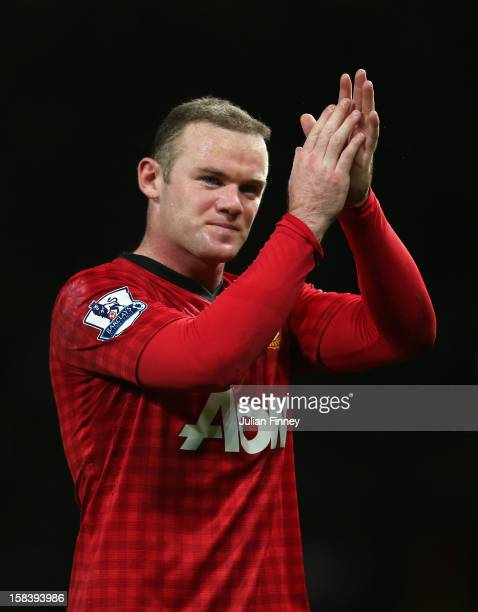 Wayne Rooney of Manchester United thanks the support after the Barclays Premier League match between Manchester United and Sunderland at Old Trafford...