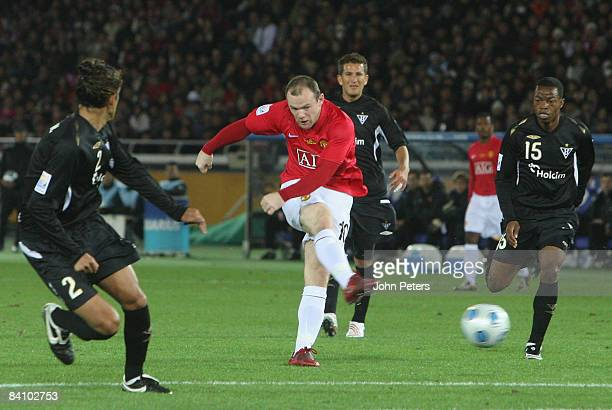 Wayne Rooney of Manchester United tries a shot during the FIFA World Club Cup Final match between LDU Quito and Manchester United at Yokohama...