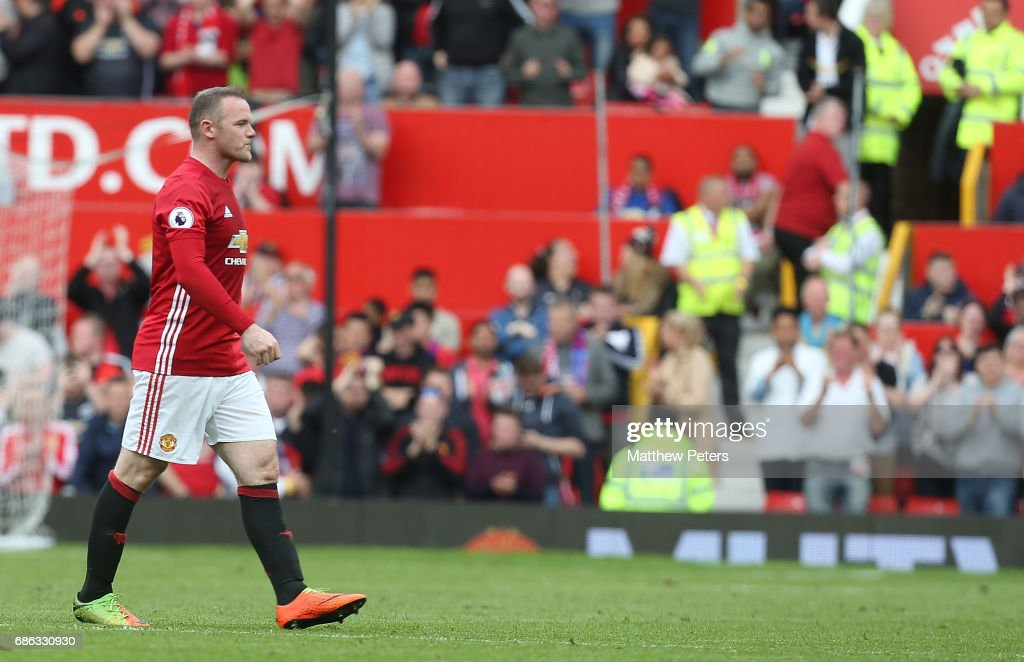 Wayne Rooney of Manchester United walks off after being substituted during the Premier League match between Manchester United and Crystal Palace at Old Trafford on May 21, 2017 in Manchester, England.
