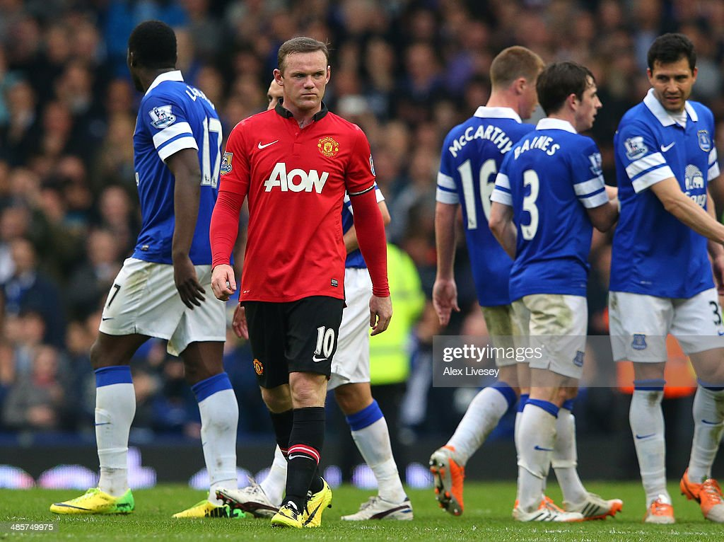 Wayne Rooney of Manchester United walks off the pitch after the Barclays Premier League match between Everton and Manchester United at Goodison Park on April 20, 2014 in Liverpool, England.