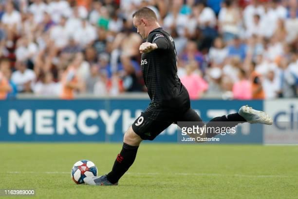 Wayne Rooney of the D.C. United takes a shot in the game against the FC Cincinnati at Nippert Stadium on July 18, 2019 in Cincinnati, Ohio.