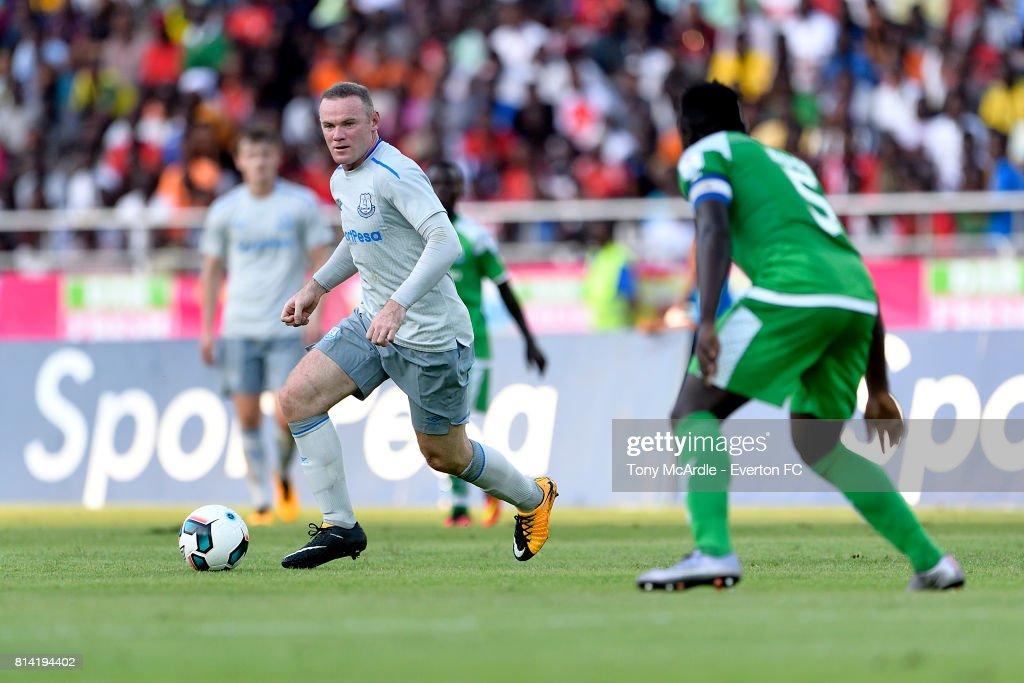 Wayne Rooney on the ball during the pre-season match between Everton and Gor Mahia in Dar-Es-Salaam on July 12, 2017 in Tanzania.