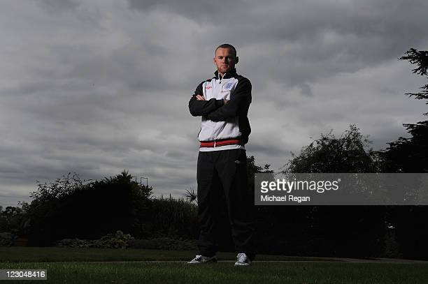 Wayne Rooney poses during the England press conference ahead of their UEFA EURO 2012 Group G qualifier against Bulgaria at London Colney on August...