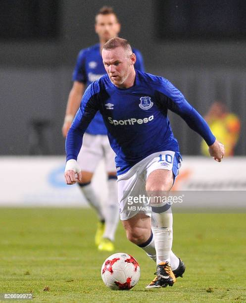 Wayne Rooney reacts during the UEFA Europa League Qualifier between MFK Ruzomberok and Everton on August 3 2017 in Ruzomberok Slovakia