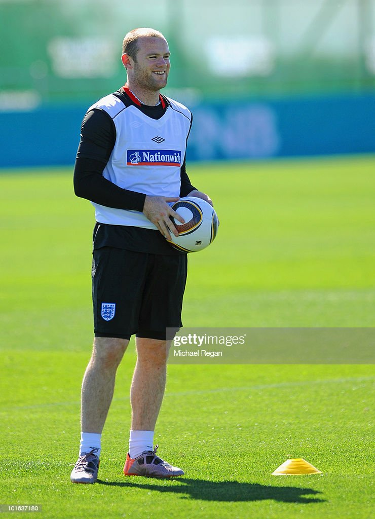 Wayne Rooney smiles during the England training session at the Royal Bafokeng Sports Campus on June 5, 2010 in Rustenburg, South Africa.