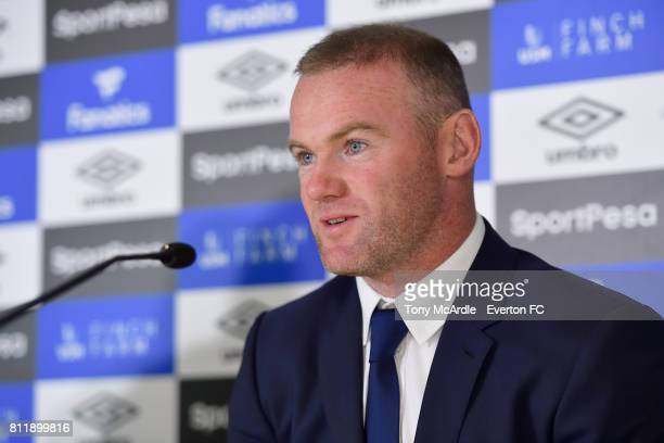 Wayne Rooney speaks to the press at Goodison Park on July 10 2017 in Liverpool England