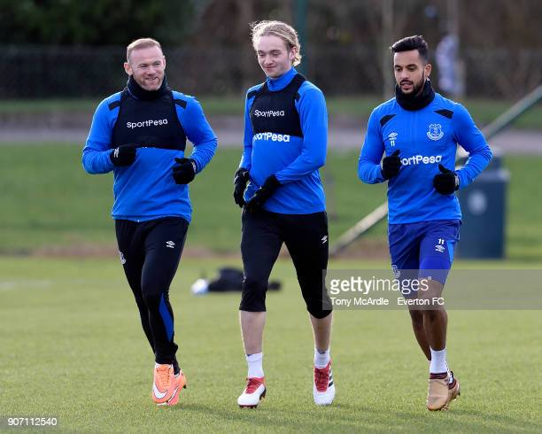Wayne Rooney Tom Davies and Theo Walcott during the Everton FC training session at USM Finch Farm on January 19 2018 in Halewood England