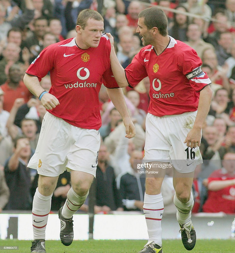 Wayne Rooney United celebrates scoring the second goal during the Barclays Premiership match between Manchester United and Newcastle United at Old Trafford on April 24 2005 in Manchester, England.