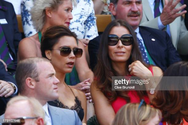 Wayne Rooney Victoria Beckham and Tana Ramsay attend the Gentlemen's Singles Final match between Andy Murray of Great Britain and Novak Djokovic of...