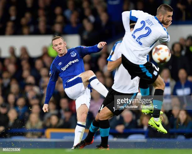 Wayne Rooney with an attempt on goal during the UEFA Europa League match between Everton and Apollon Limassol at Goodison Park on September 28, 2017...