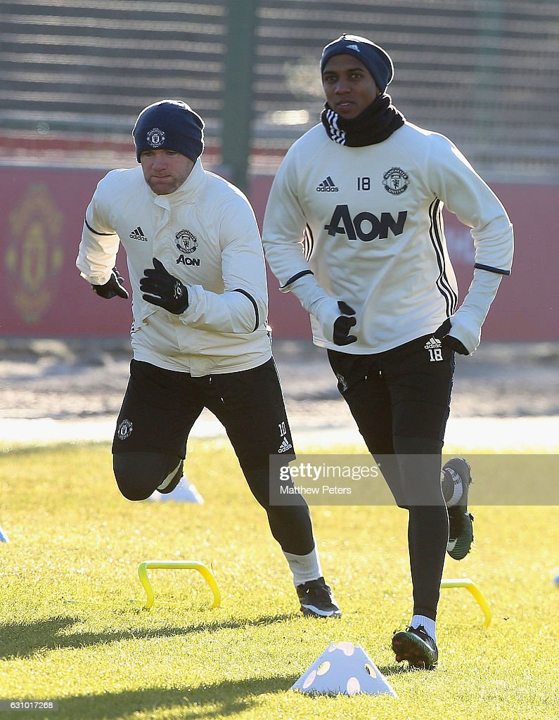 Wayne Rooney,and Ashley Young of Manchester United in action during a first team training session at Aon Training Complex on January 5, 2017 in Manchester, England.