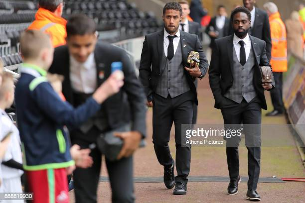 Wayne Routledge and Nathan Dyer of Swansea City arrive prior to the game during the Premier League match between Swansea City and West Bromwich...