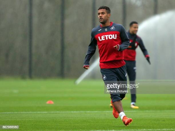 Wayne Routledge in action during the Swansea City Training at The Fairwood Training Ground on October 18 2017 in Swansea Wales