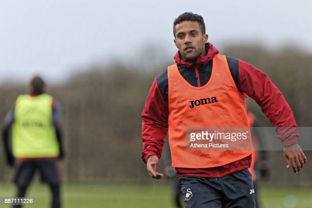 Wayne Routledge in action during the Swansea City Training at The Fairwood Training Ground on December 05 2017 in Swansea Wales