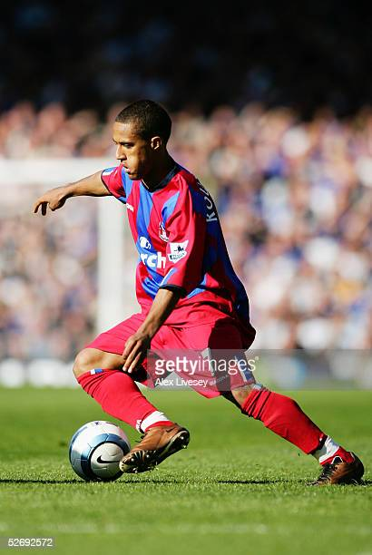 Wayne Routledge of Crystal Palace in action during the Barclays Premiership match between Everton and Crystal Palace at Goodison Park on April 10...
