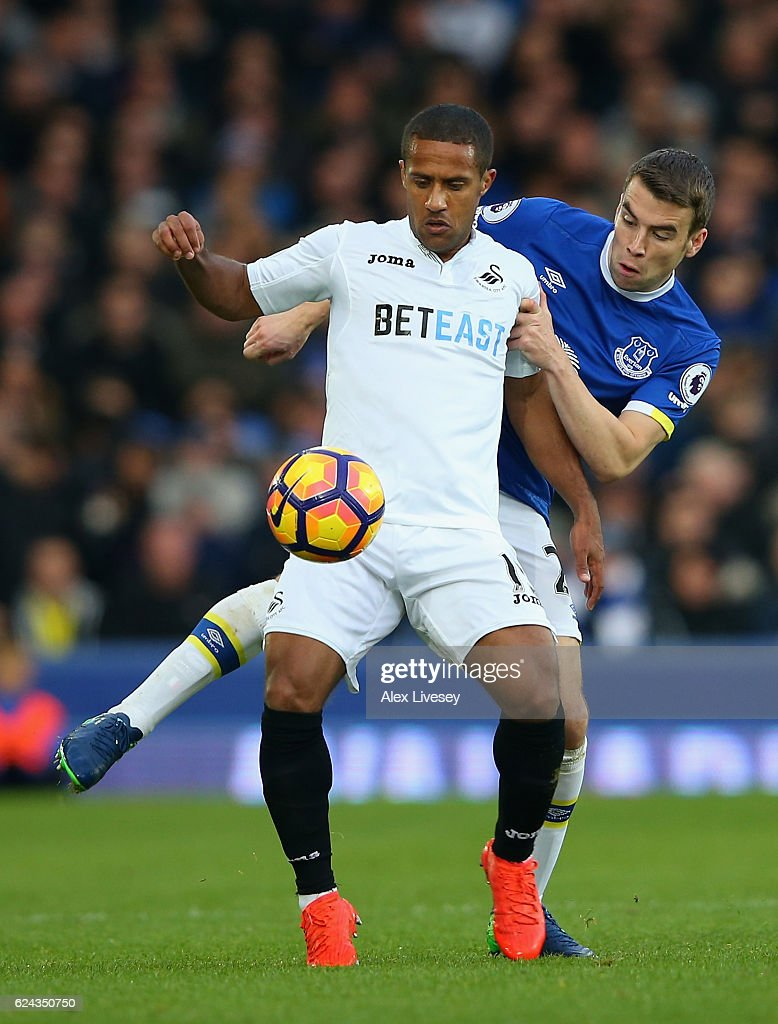 Wayne Routledge of Swansea City (L) and Seamus Coleman of Everton (R) battle for possession during the Premier League match between Everton and Swansea City at Goodison Park on November 19, 2016 in Liverpool, England.
