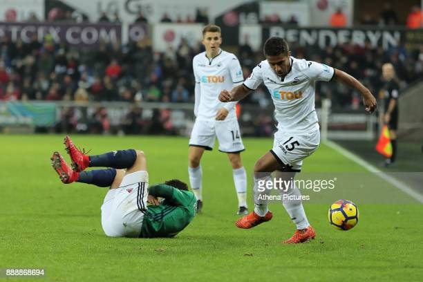 Wayne Routledge of Swansea City in action during the Premier League match between Swansea City and West Bromwich Albion at The Liberty Stadium on...