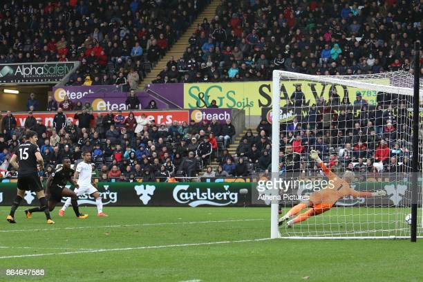 Wayne Routledge of Swansea City narrowly misses the goal during the Premier League match between Swansea City and Leicester City at The Liberty...