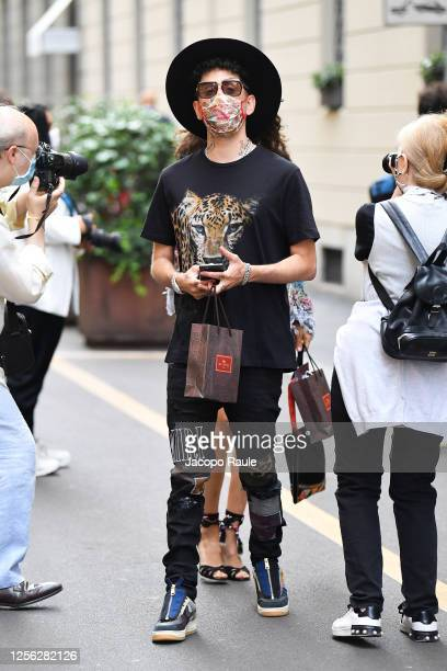 Wayne Santana is seen arriving at the Four Season Hotel ahead of the Etro Fashion Show on July 15 2020 in Milan Italy