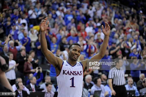 Wayne Selden Jr #1 of the Kansas Jayhawks celebrates after Kansas won in the first half during the Big 12 Basketball Tournament against the West...