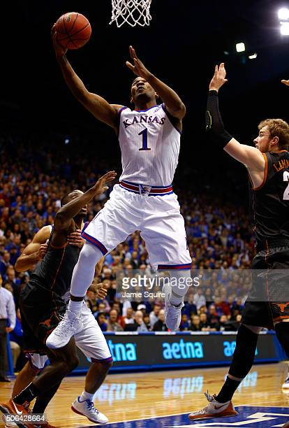 Wayne Selden Jr #1 of the Kansas Jayhawks drives to the basket during the game against the Texas Longhorns at Allen Fieldhouse on January 23 2016 in...