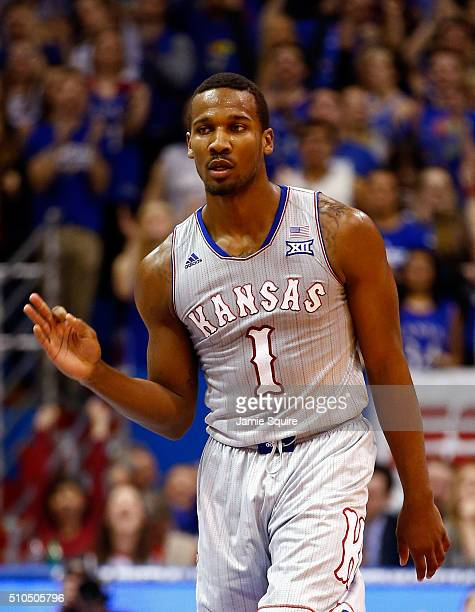 Wayne Selden Jr #1 of the Kansas Jayhawks reacts after making a threepointer during the game against the Oklahoma State Cowboys at Allen Fieldhouse...